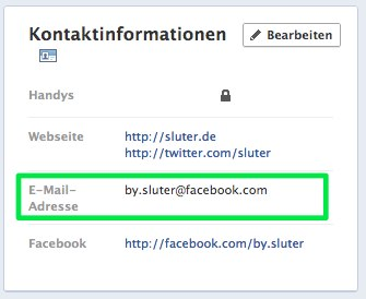 Facebook Kontoinformationen